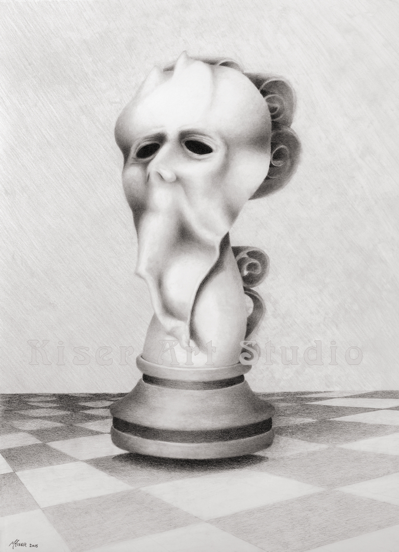 Graphite drawing, The Pawn, by Marty Kiser