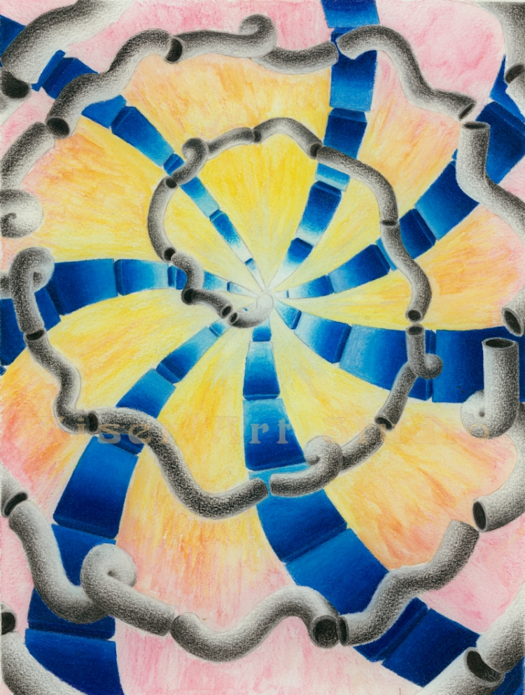 Prismacolor on watercolor, Hot and Cold, by Marty Kiser