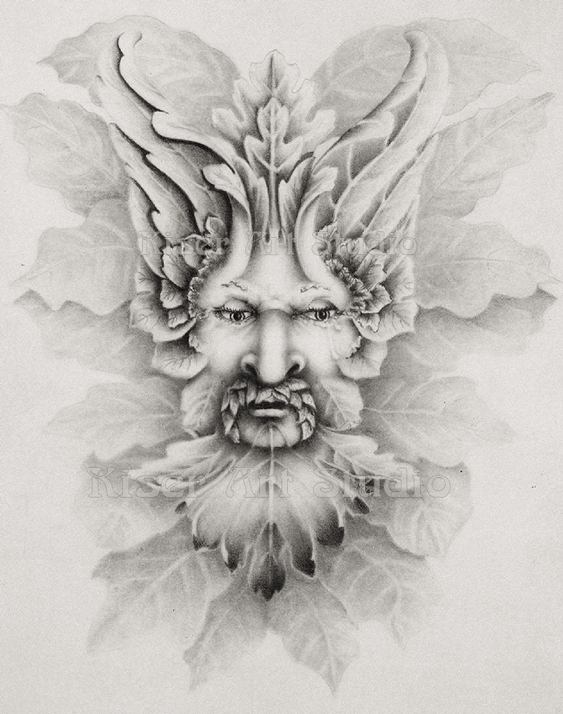 Graphite drawing, The Greenman, by Marty Kiser