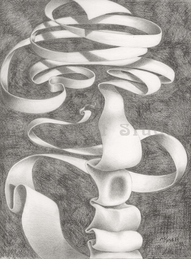 Graphite drawing, Ribbonface, by Marty Kiser