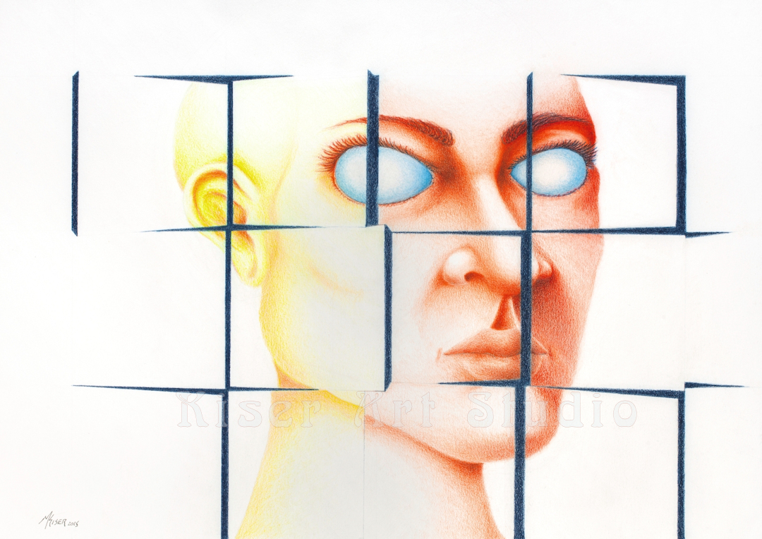Prismacolor pencil drawing, Puzzled, Falling into Place, by Marty Kiser