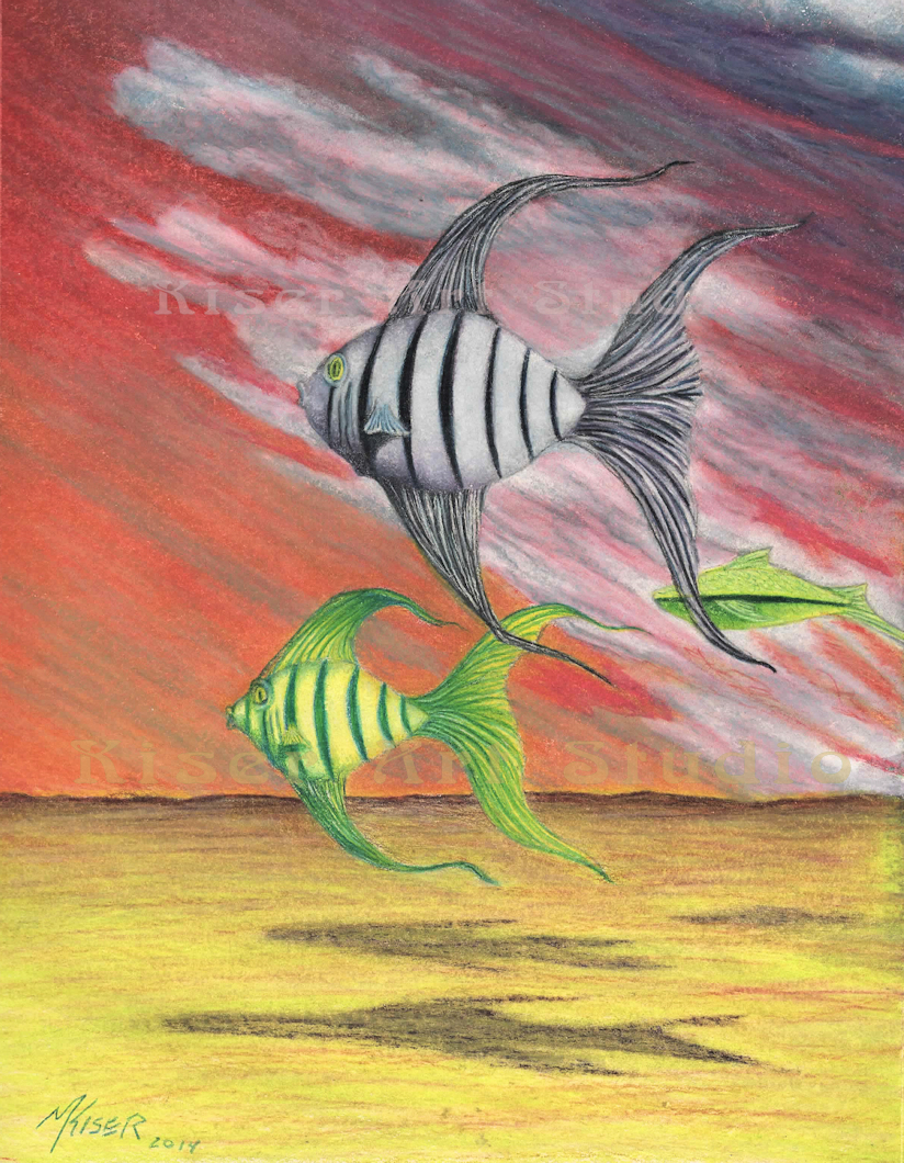 Prismacolor pencil drawing, Flyfishing Preliminary, by Marty Kiser
