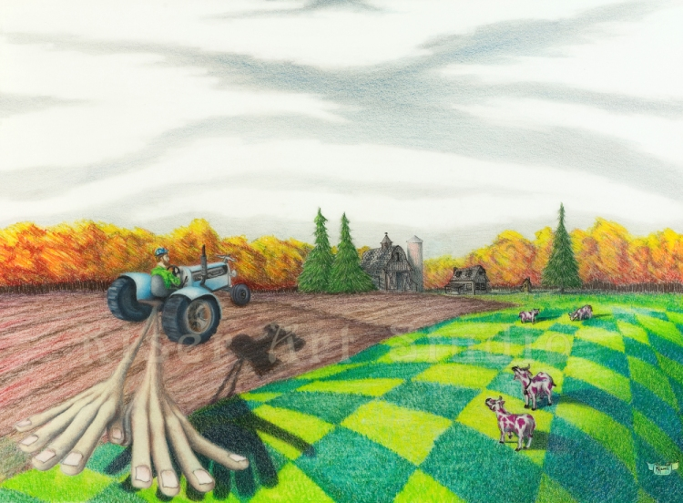 Prismacolor pencil drawing, Farming Daydream, by Marty Kiser