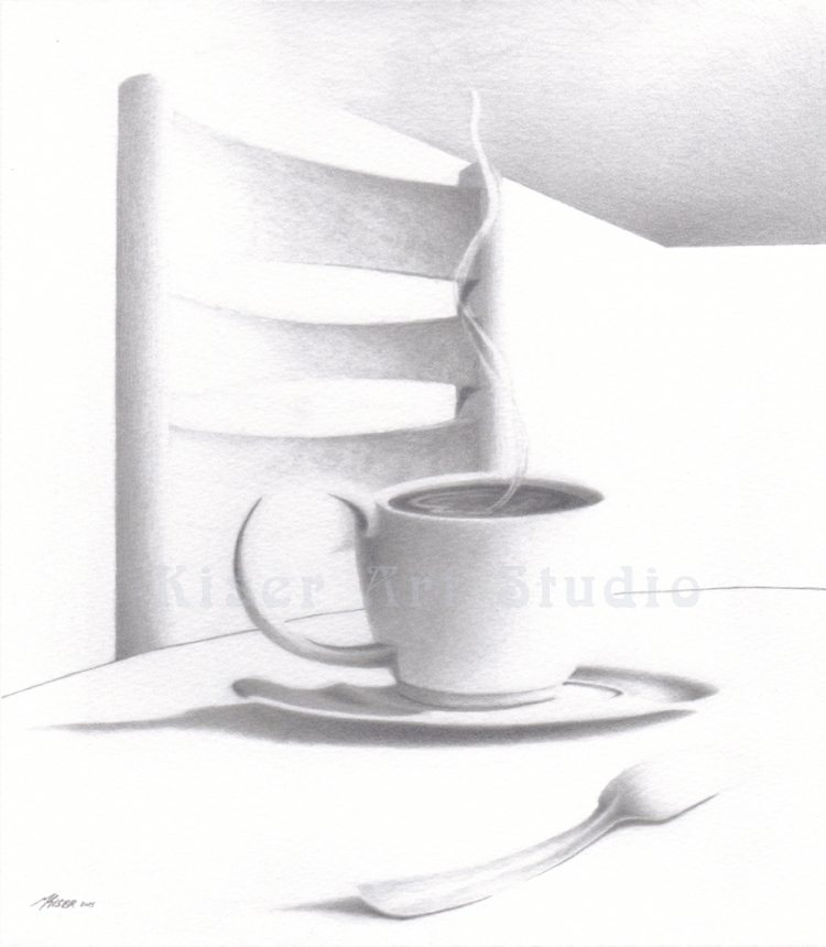 Graphite drawing, Curve of a Line, by Marty Kiser